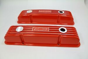 Chevrolet Small Block Valve Covers With Bowtie Logo Orange Finished 283 400