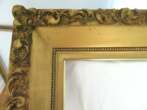 Huge Antique Fits 20x24 Gold Picture Frame Wood Gesso Ornate Fine Art Country
