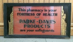 Parke davis Products Reverse Painted Glass Framed Metal Sign Art Deco