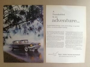 1960 Ford Thunderbird Magazine Advertisement Black T bird Squarebird Htf Rare