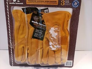 Wells Lamont Leather Work Gloves Size M