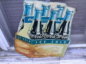1960'S COCA COLA ICE COLD SIX PACK BOTTLES FISHTAIL SIGN ORIGINAL 13.5