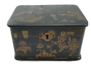 Antique Chinese Export Tea Spice Caddy Box Paper Mache