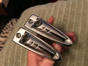 1953 1954 1955 Lincoln Robe Cord Rope Pull Strap End Covers Chrome Rare