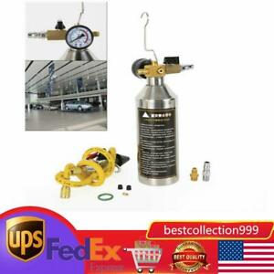 Flush Fuel Injector Cleaner Kit Canister Adapter Pressure Gauge Tools Us