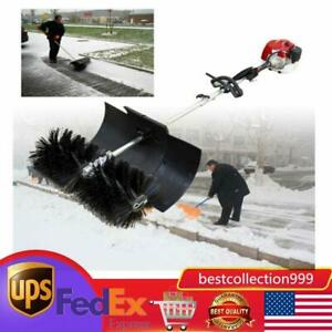 52cc 1700w Gas Power Sweeper Hand Held Broom Cleaning Driveway Turf Grass