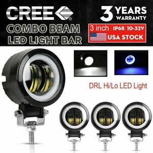 4x 3inch Round Led Work Light Bar Spot Pods Driving Fog Halo Offroad Atv Suv 4wd