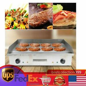 Commercial Electric Grill Griddle Nonstick Home Bbq Teppanyaki Hot Plate 4 4kw