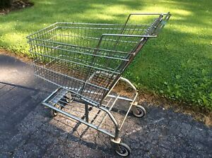 Vtg United Steel Wire Full Size Metal Grocery Cart On Wheels Very Good