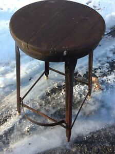Vintage 24 Wood Metal Stool W Extended Foot Rest 12 Wood Seat Good