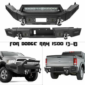 Textured Front Rear Bumper W Winch Plate Led Light For Dodge Ram 1500 13 18