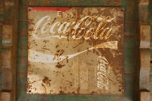 Vintage 1950's Coca-Cola Metal Sign (Rustic  BBQ on other side)
