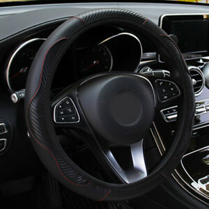 Us Carbon Fiber Leather Car Steering Wheel Cover Protector Anti slip Fit 37cm
