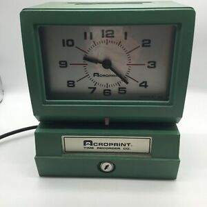 Time Clock Acroprint Time Recorder 125nr4 Industrial No Keys Works Green Usa
