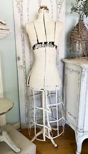 Antique Dress Form Mannequin W Stand Base