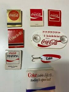 Coca Cola Collectibles Lot Of 12-Thermometer/Lure/Notepads/Matchbooks/Notepads
