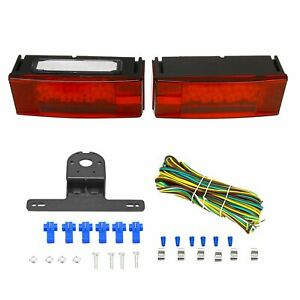 Red Left right Led Submersible Trailer Rectangle Stud Stop Turn Tail Lights Set