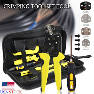 11pcs 4 In 1 Wire Crimpers Ratcheting Terminal Crimping Pliers Cord End Tool Us