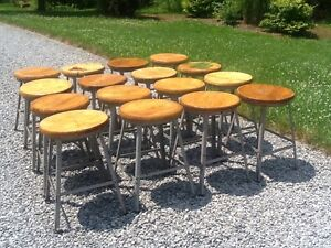 One Industrial Vintage 20 Wood Metal Stool 14 Round Wood Seat Very Good