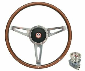 15 Polished Walnut Wood Steering Wheel W Horn For 1968 1970 Shelby Gt 350