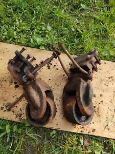 Set Of 2 Vintage Cast Iron Casters 3 3 4 Od 2 Wide