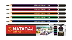 500 Nataraj Stripes Bold Pencil Free Eraser Sharpener For Bold Writing