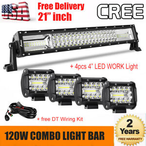 21 Inch 120w Cree Led Light Bar 4x 4 Combo Lamp For Jeep Utv Suv Atv Buggy