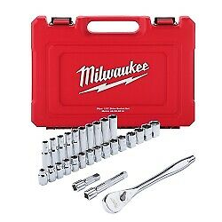 Milwaukee Electric Tools 48 22 9510 28 Pc 1 2 Socket Wrench Set Metric