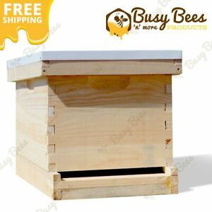 Complete Langstroth Bee Hive 10 Frame 1 Deep Brood Box Starter Kit Free Shipping