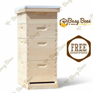 Complete Langstroth Bee Hive 8 Frame 2 Deep Boxes 2 Medium Boxes Free Shipping