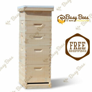 Complete Langstroth Bee Hive 8 Frame 2 Deep Boxes 3 Medium Boxes Free Shipping