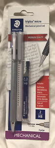 New Staedtler Triplus Micro Mechanical Pencil 3 Piece Set 1 3 Mm Hb Gray