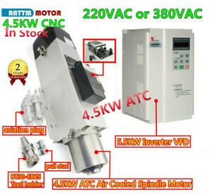 4 5kw Bt30 Atc Automatic Tool Change Air Spindle Motor 220 380v W 5 5kw Inverter