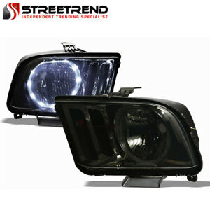 For 2005 2009 Ford Mustang Smoke Housing Halo Led Headlights Headlamps Pair Nb