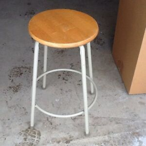 Vintage Metal 26 Stool Wood 14 Round Seat Very Good