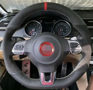 Suede Leather Red Marker Steering Wheel Stitch on Wrap For Vw Mk6 Gti Gli