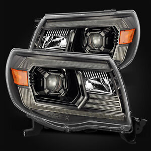 For 05 11 Toyota Tacoma Polished Black Projector Headlights Lamps Left Right