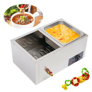 2 Pan Commercial 10l Gas Fryer Food Warmer Buffet Countertop Steam Table Steamer