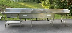 Custom 14 Feet Stainless Steel Three Compartment Sink Heavy Gauge W Drainboards