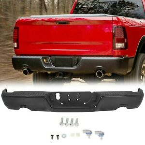 New Complete Steel Black Rear Step Bumper Assembly For 2009 2018 Dodge Ram 1500