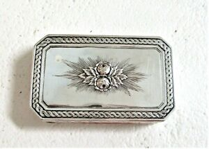 Big 102 G Antique Sterling Silver Trinket Box Hanau Rope Rose Jewelry Snuff Pill