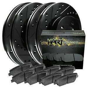 Front Rear Kit Black Hart Drilled Slotted Brake Rotors Ceramic Pads C1026
