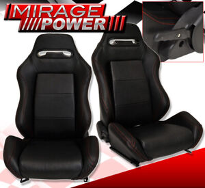 Reclinable Bucket Seats Chairs Jdm Racing Sport Track Slider Black Track Pair