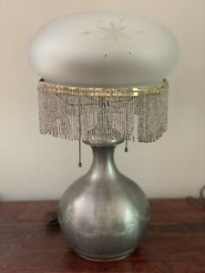 Antique Pairpoint Pewter Lamp Base Wheel Cut Etched Shade Glass Beaded Fringe