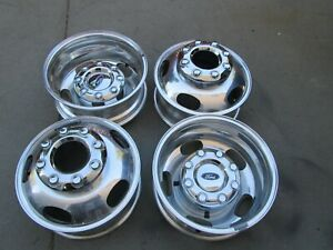 17 Ford F350 Dually Duallie Drw Oem Factory Aluminum Wheels Rims With Caps