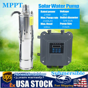 270w Dc24v Solar Water Pump 3 Stainless Steel Submersible Deep Well Pump mppt