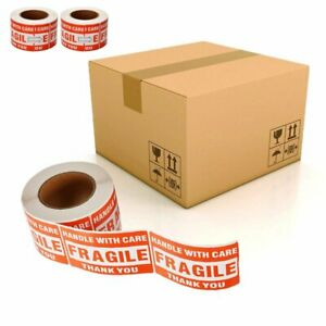 1500 Fragile Stickers 3 x5 Handle With Care Thank You Warning Labels 3 Roll