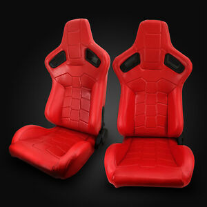Universal Red Pvc Leather Left right Sport Racing Bucket Seats Slider Pair