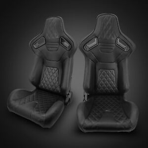 Universal Black Pvc Leather black Stitching Left right Racing Seats Pair