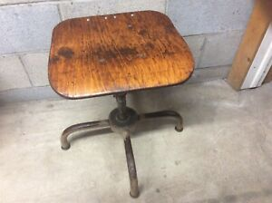 Vintage Adjustrite Co Wood Metal Stool Adjusts 15 To 20 Very Good